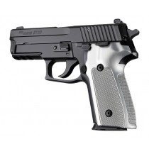 SIG Sauer P228 P229 DA/SA Checkered Aluminum - Brushed Gloss Clear Anodize
