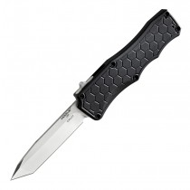 "Exploit Out The Front Automatic: 3.5"" Tanto Blade - Tumbled Finish, Matte Black Aluminum Frame"