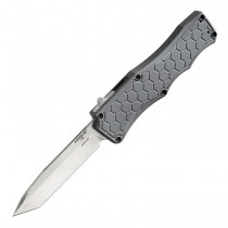 "Exploit Out The Front Automatic: 3.5"" Tanto Blade - Tumbled Finish, Matte Grey Aluminum Frame"