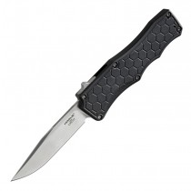 "Exploit Out The Front Automatic: 3.5"" Clip Point Blade - Tumbled Finish, Matte Black Aluminum Frame"