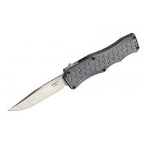 """Exploit Out the Front Automatic: 3.5"""" Tumbled Clip Point Blade, Matte Grey Aluminum Frame"""