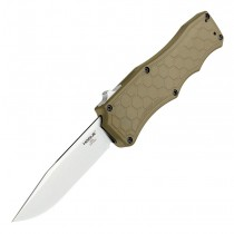 """Exploit OTF Automatic (MGE Exclusive): 3.5"""" Clip Point Blade - Tumbled Finish, Matte FDE Aluminum Frame"""