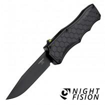 "Exploit OTF Automatic: 3.5"" Clip Point Blade - Black PVD Finish, Matte Black Aluminum Frame - Tritium Trigger"
