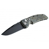 "EX-A01 Automatic Folder: 3.5"" Black Cerakote Drop Point Blade, Green G-Mascus G10 Frame"