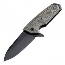 "EX-02 Manual Flipper: 3.75"" Spear Point Blade - Black Cerakote Finish, G-Mascus Green G10 Scales"