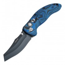 "EX-04 Manual Folder: 4.0"" Wharncliffe Blade - Black Cerakote Finish, Blue Lava G-Mascus G10 Frame"