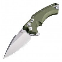 "X5 Manual Flipper: 4.0"" Spear Point Blade - Tumbled Finish, OD Green Aluminum Frame"