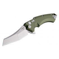 "X5 3.5"" Folder CPM154 Wharncliffe Blade Tumbled Finish - OD Green Aluminum Frame"