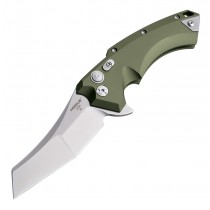 "X5 Flipper: 3.5"" Wharncliffe Blade - Tumbled Finish, OD Green Aluminum Frame"