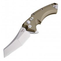 "X5 Flipper: 3.5"" Wharncliffe Blade - Tumbled Finish, FDE Aluminum Frame"