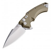 "X5 Flipper: 3.5"" Spear Point Blade - Tumbled Finish, FDE Aluminum Frame"
