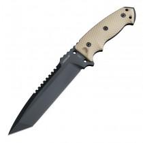 "EX-F01 Fixed Blade: 7.0"" Tanto Blade - Black Cerakote Finish, FDE G10 Scales"