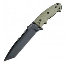 "EX-F01 Fixed Blade: 7.0"" Tanto Blade - Black Cerakote Finish, OD Green G10 Scales"