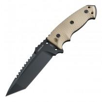 "EX-F01 Fixed Blade: 5.5"" Tanto Blade - Black Cerakote Finish, FDE G10 Scales"