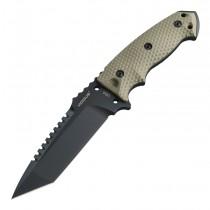 "EX-F01 Fixed Blade: 5.5"" Tanto Blade - Black Cerakote Finish, OD Green G10 Scales"