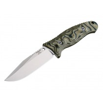 "EX-F02 4.5"" Fixed Clip Point Blade Tumbled Finish Auto Retention Sheath Black - G10 G-Mascus Green Scales"