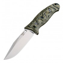 "EX-F02 Fixed Blade: 4.5"" Clip Point Blade - Tumbled Finish, G-Mascus Green G10 Scales"