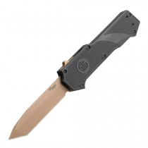 "SIG Compound Emperor Scorpion OTF Automatic: 3.5"" Tanto Blade - FDE PVD Finish, Solid Black G10 Frame"