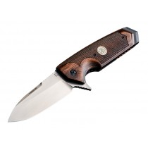 "EX-02 3.75"" Sig Folder Spear Point Blade Flipper Tumbled Finish Reinforced Wood - Walnut Checkered Sig Medallion"