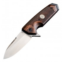 """SIG EX-02 ASE Flipper: 3.75"""" Spear Point Blade - Tumbled Finish, Reinforced Checkered Walnut Scales"""