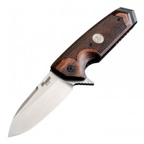 "SIG EX-02 ASE Manual Flipper: 3.75"" Spear Point Blade - Tumbled Finish, Reinforced Walnut Scales"