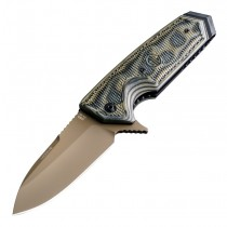 "SIG EX-02 Scorpion Flipper: 3.75"" Spear Point Blade - FDE PVD Finish, Green G-Mascus G10 Scales"