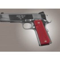 1911 Govt. Model 9/32 Thick Checkered Aluminum - Matte Red Anodized