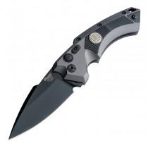 "SIG EX-A05 Tactical Automatic Folder: 3.5"" Spear Point Blade - Black Cerakote Finish, Matte Grey Aluminum Frame & Solid Black G10 Inserts"