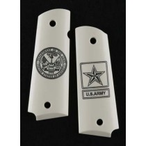 1911 Officers Model Engraved Ivory Polymer - Army insignia