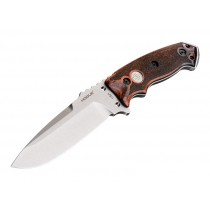 "EX-F01 5 1/2"" Sig Fixed Drop Point Blade A-2 Bead Blast Clear Finish Black Sheath - Reinforced Rosewood Scales Sig Medallion"