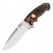 """SIG EX-F01 Stainless Elite Fixed Blade: 5.5"""" Drop Point Blade - Tumbled Finish, Reinforced Rosewood Scales"""