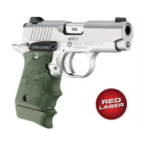 Red Laser Enhanced Grip for Kimber Micro 9: Cobblestone Rubber - OD Green