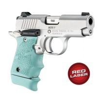 Red Laser Enhanced Grip for Kimber Micro 9: Cobblestone Rubber - Aqua