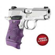 Red Laser Enhanced Grip for Kimber Micro 9: Cobblestone Rubber - Purple