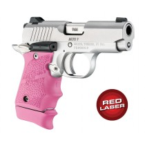 Red Laser Enhanced Grip for Kimber Micro 9: Cobblestone Rubber - Pink