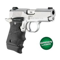 Green Laser Enhanced Grip for Kimber Micro 9: OverMolded Rubber - Black