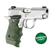 Green Laser Enhanced Grip for Kimber Micro 9: OverMolded Rubber - OD Green