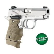 Green Laser Enhanced Grip for Kimber Micro 9: OverMolded Rubber - FDE