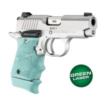 Green Laser Enhanced Grip for Kimber Micro 9: OverMolded Rubber - Aqua