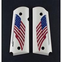 1911 Officers Model Scrimshaw Ivory Polymer - American Flag
