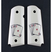 1911 Officers Model Scrimshaw Ivory Polymer - Double Aces
