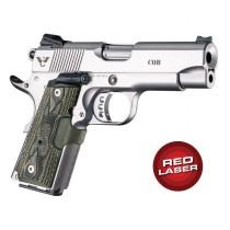 Red Laser Enhanced Grip for 1911 Officers Model: Piranha G10 - G-Mascus Green