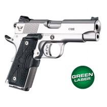 Green Laser Enhanced Grip for 1911 Officers Model: Piranha G10 - G-Mascus Black