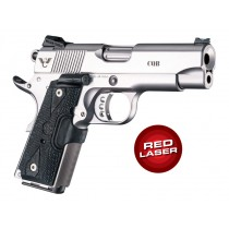 Laser Enhanced Grip Red Laser - Officers Model 1911 Piranha Grip G10 - G-Mascus Black
