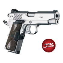 Red Laser Enhanced Grip for 1911 Officers Model: Checkered Reinforced Hardwood - Walnut