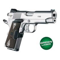 Green Laser Enhanced Grip for 1911 Officers Model: Checkered Reinforced Hardwood - Walnut