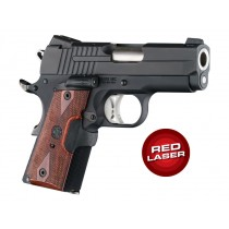 Laser Enhanced Grip Red Laser - Officers Model 1911 Reinforced Rosewood Checkered