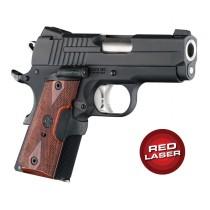 Red Laser Enhanced Grip for 1911 Officers Model: Checkered Reinforced Hardwood - Rosewood
