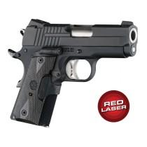 Red Laser Enhanced Grip for 1911 Officers Model: Checkered Reinforced Hardwood - Blackwood