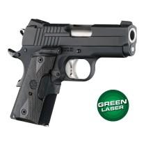 Green Laser Enhanced Grip for 1911 Officers Model: Checkered Reinforced Hardwood - Blackwood